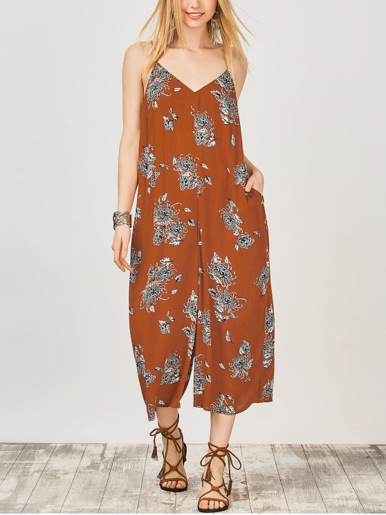 affordable Cami Floral Wide Leg Jumpsuit - EARTHY M