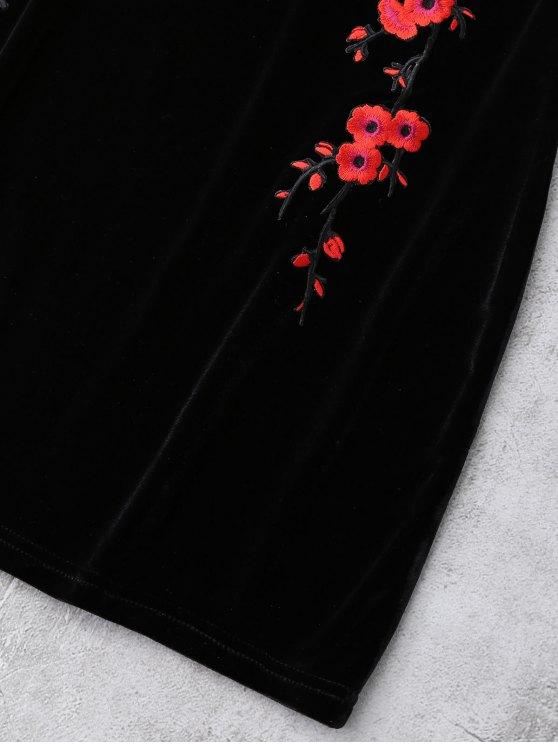 Embroidered Floral Patch Velvet Sleepwear - BLACK M Mobile