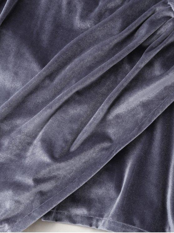 Plunging Neck Velvet Wrap Sleep Romper - GRAY XL Mobile