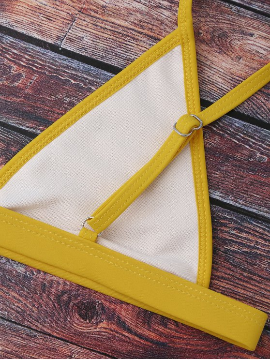 Cami Plunge String Bikini Set - YELLOW L Mobile