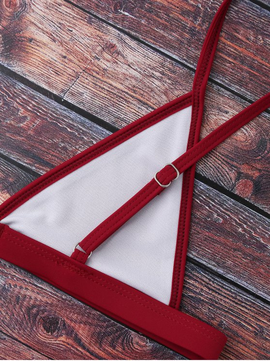 Cami Plunge String Bikini Set - BURGUNDY M Mobile