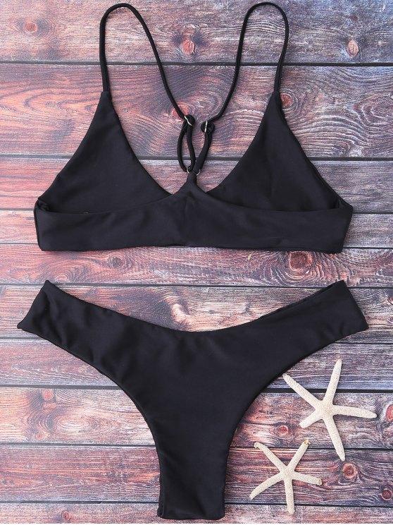 Spaghetti Strap Thong Bikini Set - BLACK S Mobile