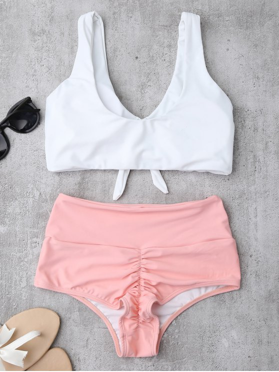 Knotted High Waisted Ruched Bikini Set - PINK S Mobile