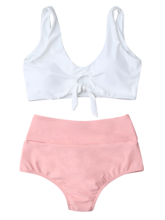 Knotted High Waisted Ruched Bikini Set - PINK M Mobile