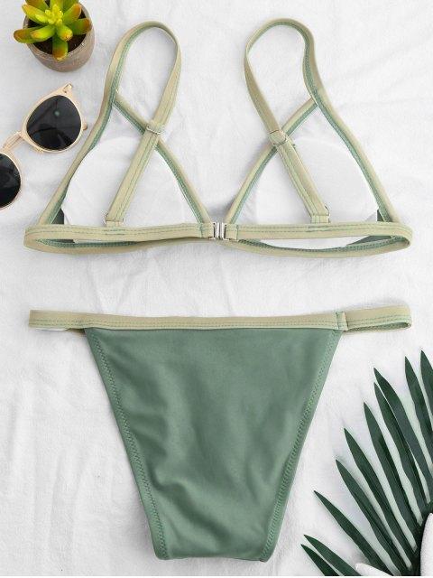 womens Two Tone Padded Bikini Set - PEA GREEN M Mobile