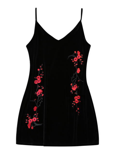 outfit Embroidered Floral Patch Velvet Sleepwear - BLACK XL Mobile