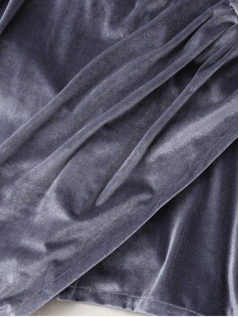latest Plunging Neck Velvet Wrap Sleep Romper - GRAY XL Mobile