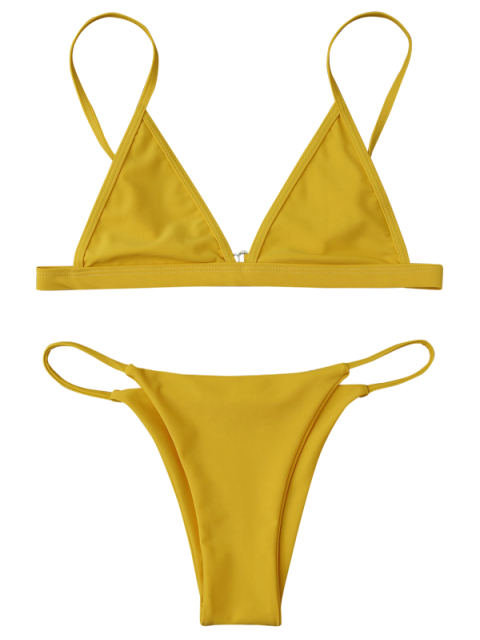 lady Cami Plunge String Bikini Set - YELLOW L Mobile