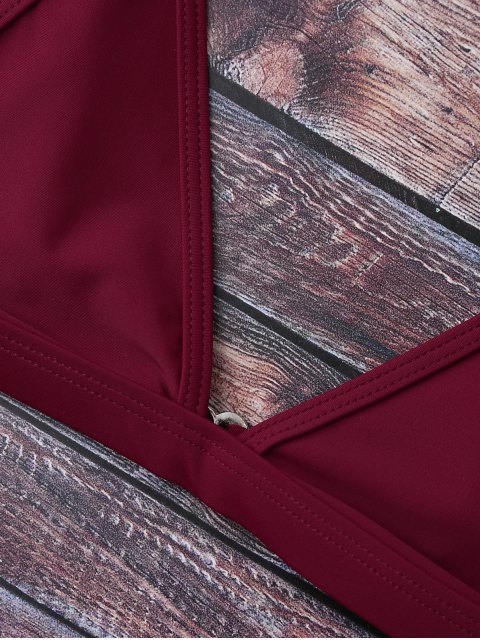 affordable Cami Plunge String Bikini Set - BURGUNDY M Mobile
