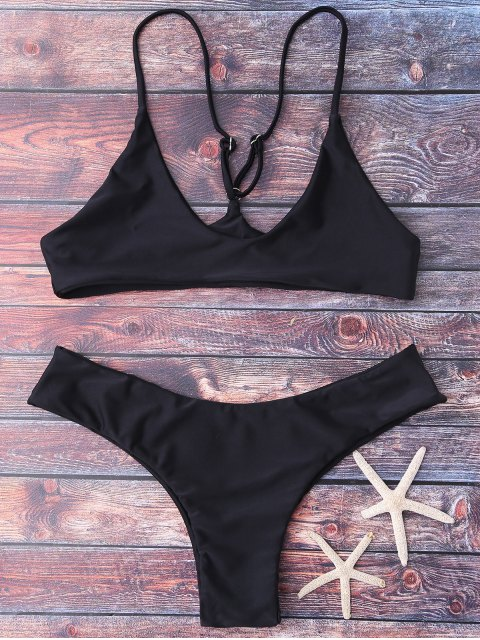 sale Spaghetti Strap Thong Bikini Set - BLACK S Mobile