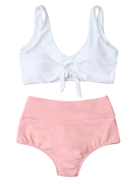 unique Knotted High Waisted Ruched Bikini Set - PINK S Mobile