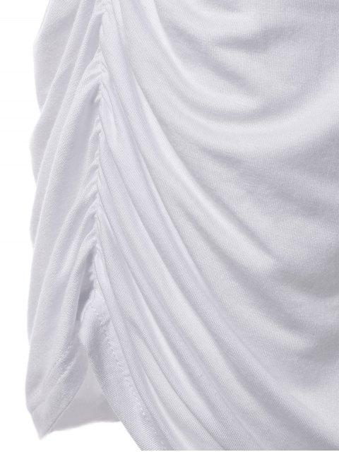 shops Plus Size Lace Trim Ruched T-Shirt - WHITE 4XL Mobile