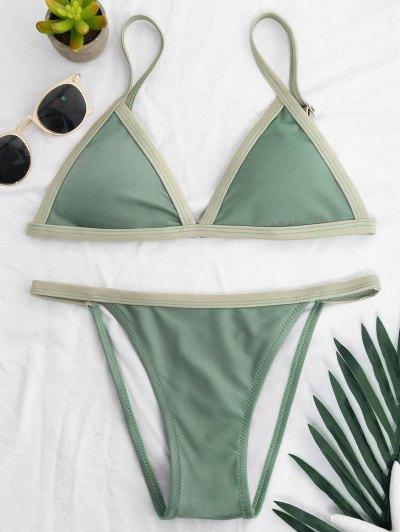 Two Tone Padded Bikini Set - Pea Green