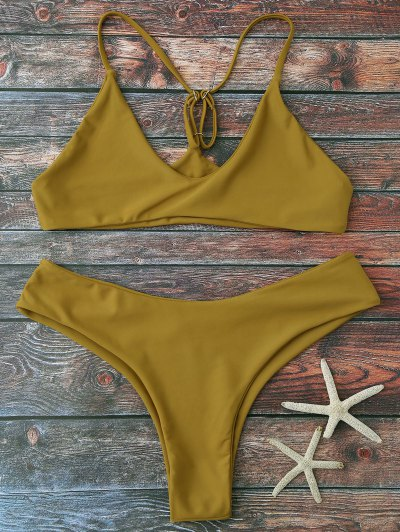 Spaghetti Strap Thong Bikini Set - Ginger