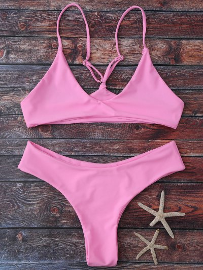 Spaghetti Strap Thong Bikini Set - Pink