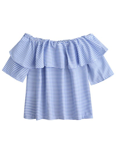 Off Shoulder Ruffle Striped Top - Blue