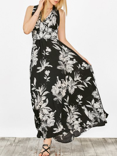 Floral Crossover Maxi Dress - Black