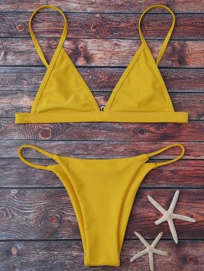 Cami Plunge String Bikini Set - Yellow