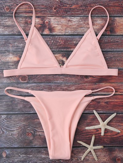 Bikinis Taille Haute Col Plongeant Bretelles Spaghetti - Rose PÂle M