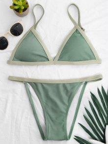 Two Tone Padded Bikini Set - Pea Green S