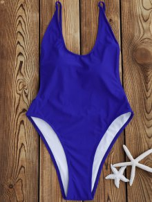 Backless High Cut One Piece Swimsuit - Sapphire Blue M