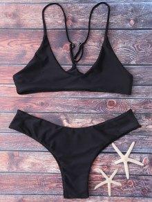 Spaghetti Strap Thong Bikini Set - Negro