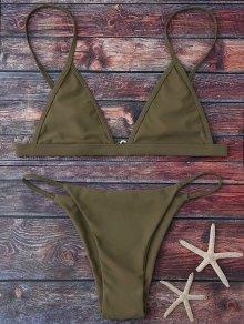 Cami Plunge String Bikini Set - Army Green