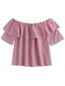 Off Shoulder Ruffle Striped Top