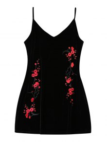 Embroidered Floral Patch Velvet Sleepwear - Black Xl