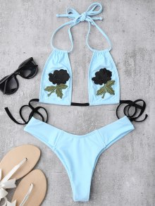Embroidered Floral Patch Bathing Suit