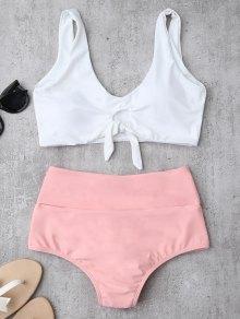 Knotted High Waisted Ruched Bikini Set - White