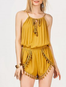 String Fringed Romper - Yellow