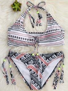 Tassels Polka Dot Bralette Bikini Set - White Xl
