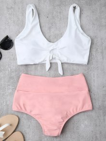 Knotted High Waisted Ruched Bikini Set - Pink
