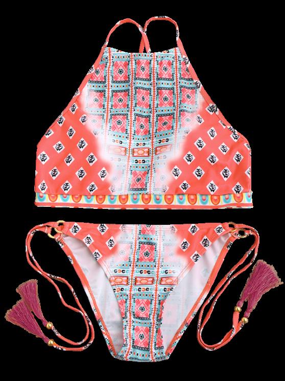 High Neck Tassels Tie Side Bikini - PEACH RED L Mobile