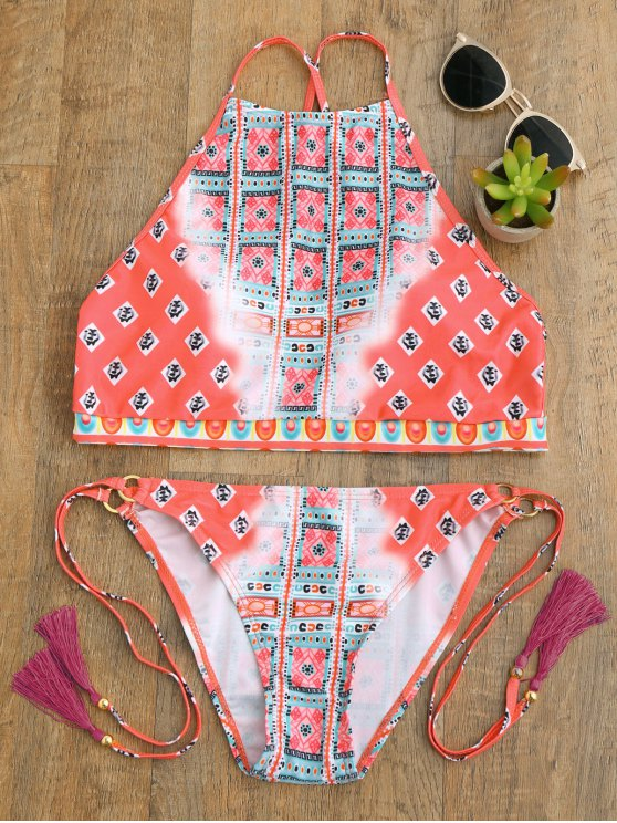 High Neck Tassels Tie Side Bikini - PEACH RED M Mobile