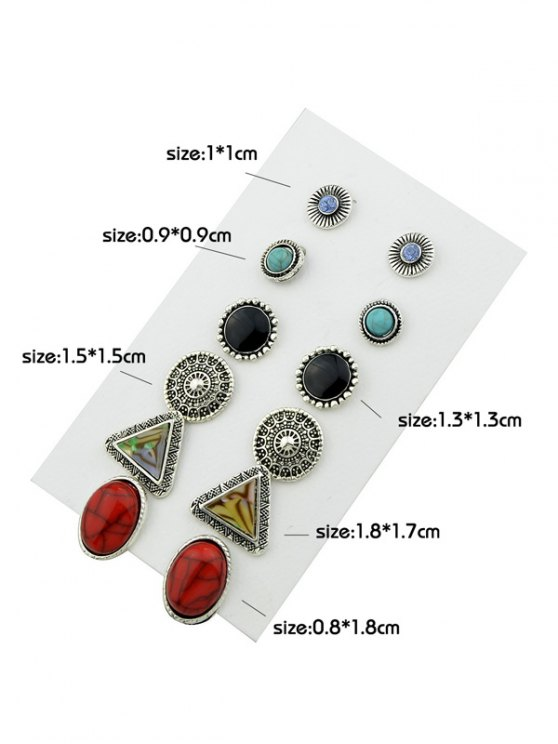 Faux Turquoise Rhinestone Circle Earring Set - SILVER  Mobile
