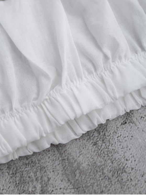 Off Shoulder Flare Sleeve Crop Top - WHITE S Mobile