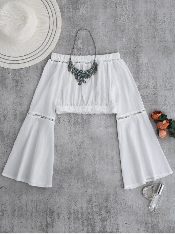 outfit Off Shoulder Flare Sleeve Crop Top - WHITE M