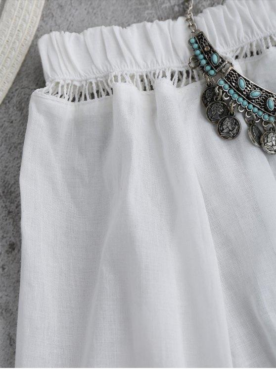 Off Shoulder Flare Sleeve Crop Top - WHITE M Mobile