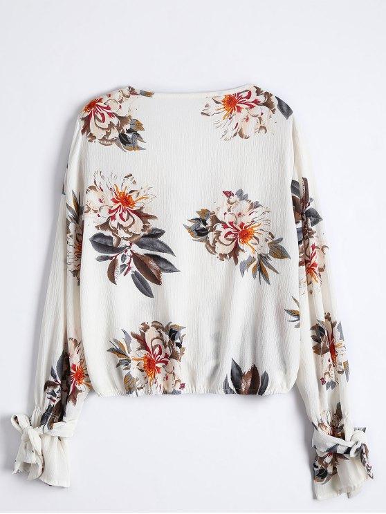Floral Flare Sleeve Surplice Blouse - COLORMIX S Mobile