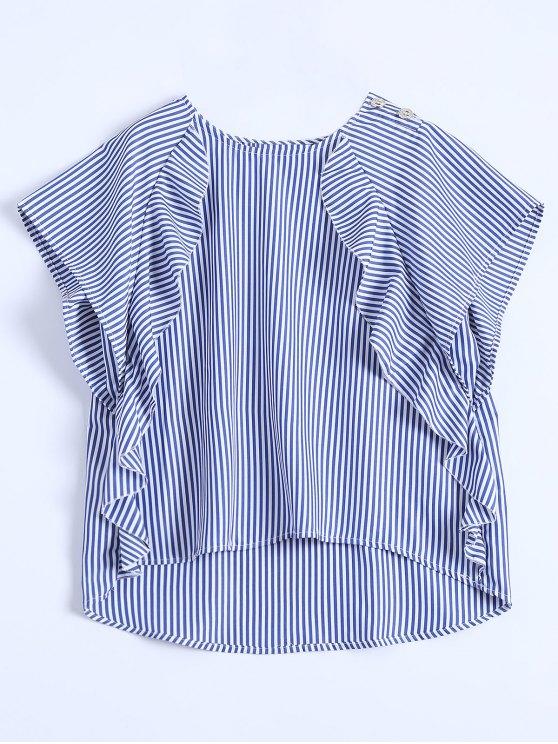 fancy Dip Hem Ruffle Striped Blouse - BLUE S