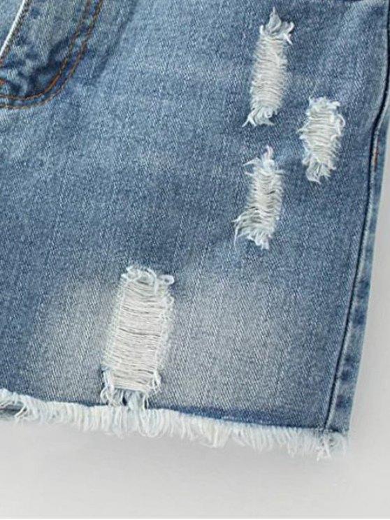 Cutoffs Distressed Denim Shorts - DEEP BLUE 27 Mobile