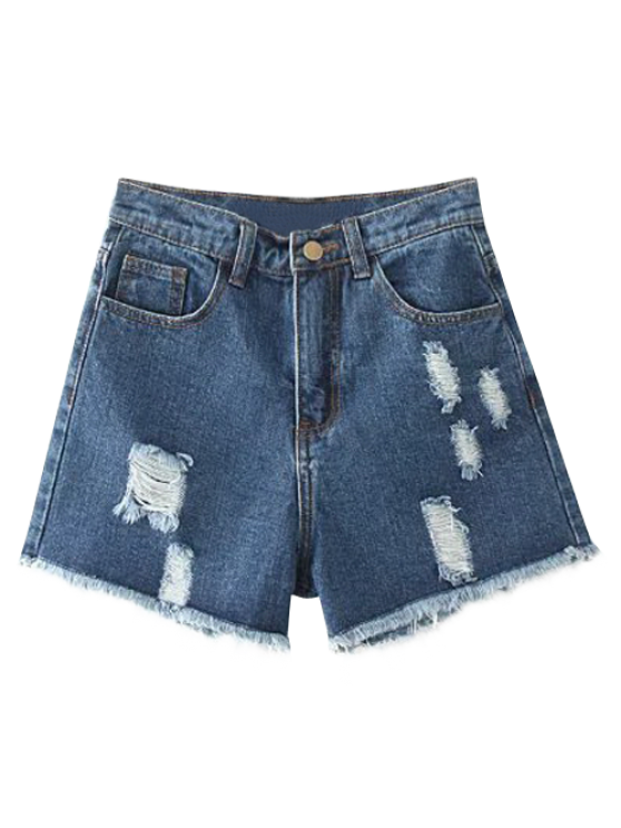 trendy Cutoffs Distressed Denim Shorts - DEEP BLUE 26