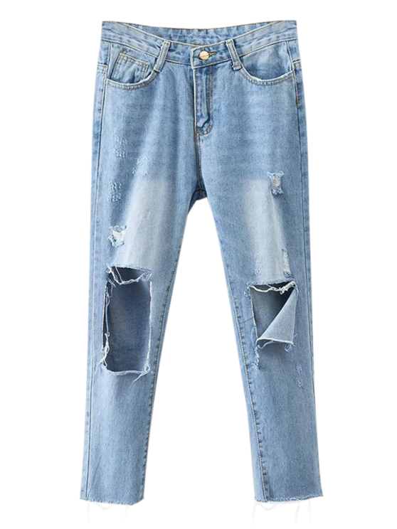 women Rippes Tapered Jeans - DENIM BLUE M