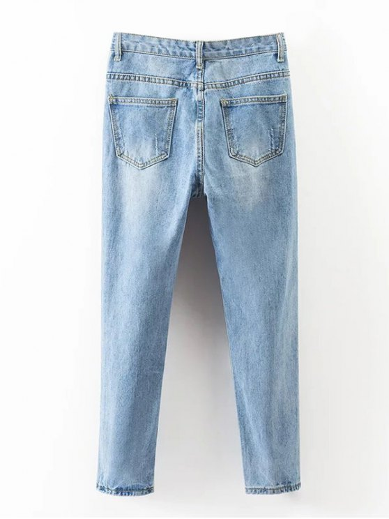 Bleach Wash Ripped Tapered Jeans - DENIM BLUE S Mobile