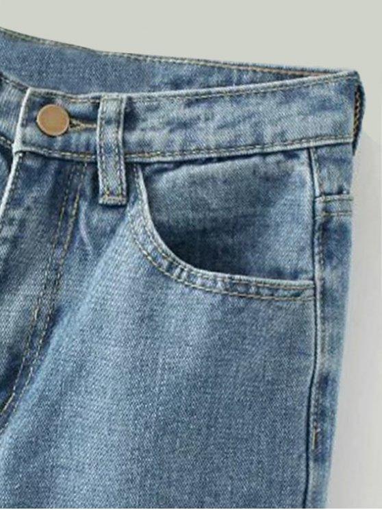 Tapered Frayed Hem Jeans - LIGHT BLUE M Mobile