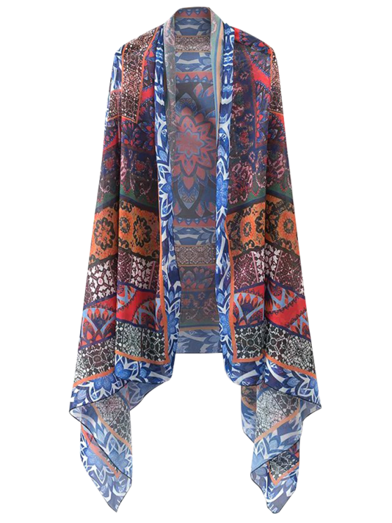 shops Printed Open Front Kimono Cape - FLORAL ONE SIZE