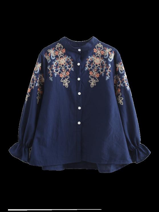 chic Embroidered Flare Sleeve Shirt - PURPLISH BLUE L