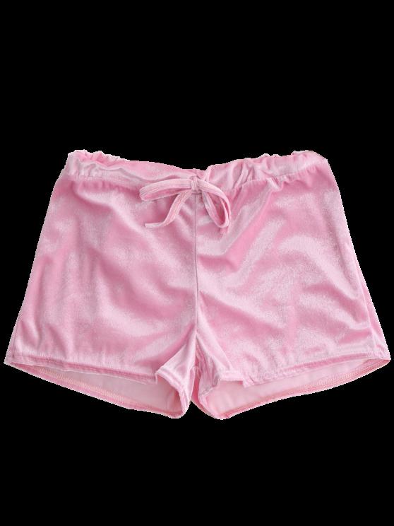Loopback Waist Velvet Shorts - PINK L Mobile